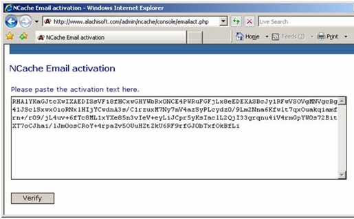 Activate NCache Request Code